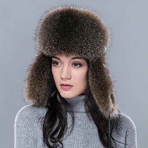 URSFUR femme chapka russe en vrai fourrure et bonnet chapeau cuir chaud hiver Brun M:56-58CM