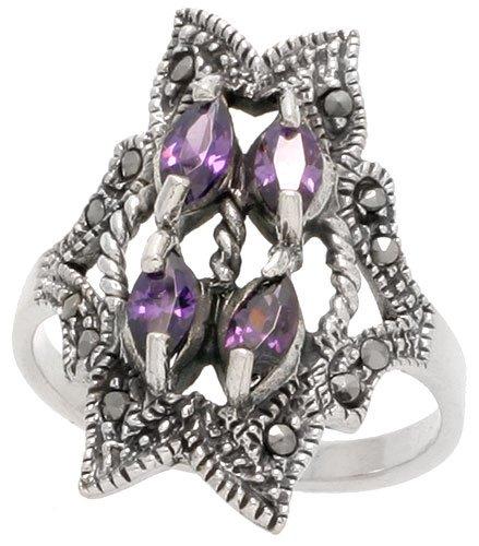 Freeform Ring (Sterling Silver Marcasite Freeform Ring, w/ Marquise Cut Amethyst CZ, 1