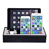 WOWO® 4 in 1 Black Leather Apple watch stand and iphone ipad Cradle Charging Dock Station mutiple Device Organizer