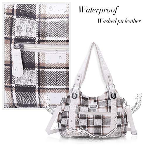 Angel Barcelo Roomy Fashion Hobo Womens Handbags Ladies Purse Satchel Shoulder Bags Tote Washed Leather Bag White