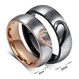 His Hers Love Heart Promise Rings Stainless Steel Couples Wedding Engagement Bands Top Ring (7 and 9)
