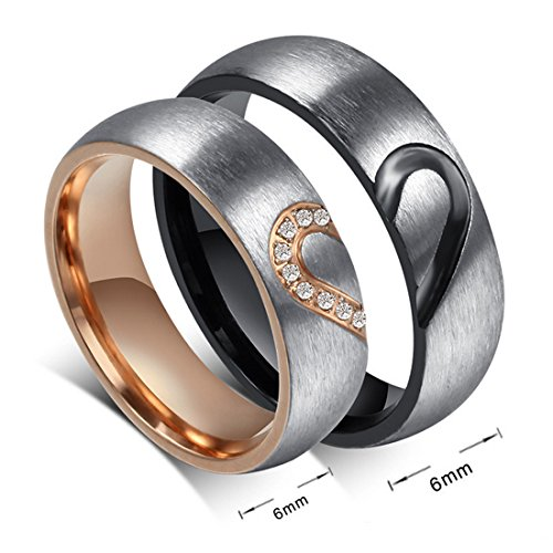 His Hers Love Heart Promise Rings Stainless Steel Couples Wedding Engagement Bands Top Ring (6 and - Something You Special For