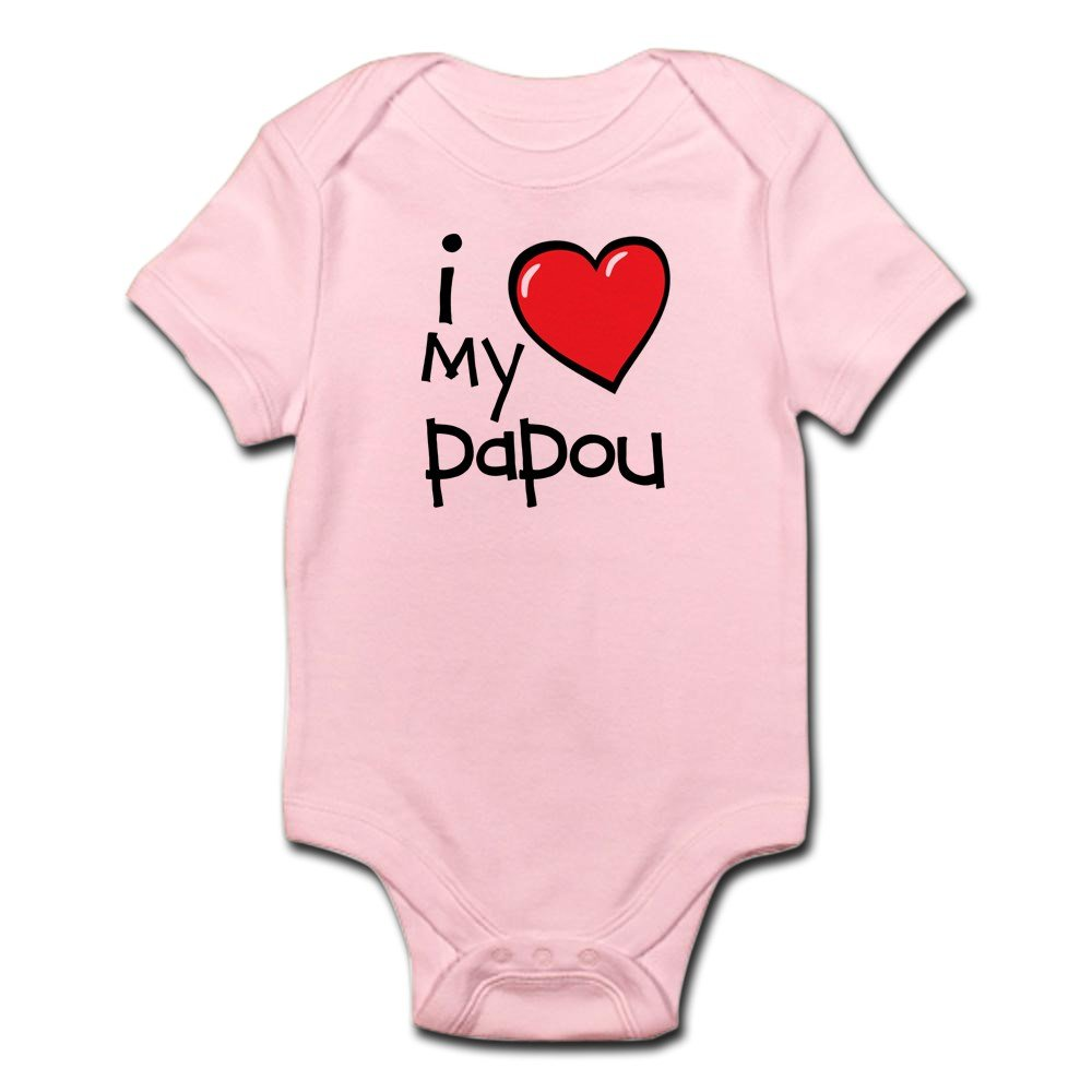 CafePress - I Love My Papou Baby Bodysuit - Cute Infant Bodysuit Baby Romper