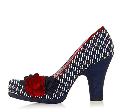 Ruby Shoo Eva Navy Red High Heel Flower Court Shoes, UK 3