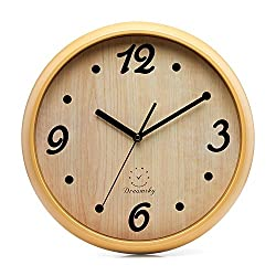 DreamSky 12 Decorative Wall Clock, Non-Ticking Battery Operated Quartz Analogy Wall Clocks for Living Room/Kitchen/Classroom/Office, Cultured Wood Style.