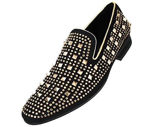 ac2abb6b008 Amali Mens Metal   Rhinestone Studded Faux Suede Smoking Slipper Loafer  Dress Shoes