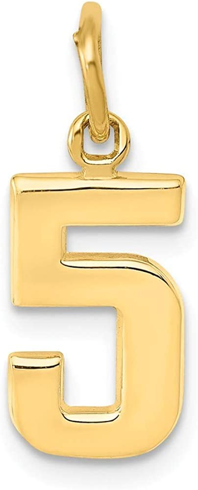 14k Small Polished Number Charm in Yellow Gold White Gold Choice of Numbers and Variety of Options