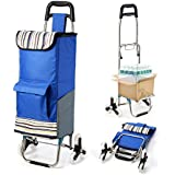 Upgraded Folding Shopping Cart, Stair Climbing Cart Grocery Laundry Utility Cart with Wheel Bearings