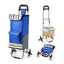 Upgraded Folding Shopping Cart, Stair Climbing Cart Grocery Laundry Utility Cart with Wheel Bearings Stainless Steel Frame