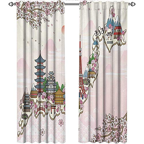 Returiy Japanese, Kitchen Curtains and Valances Set, Japan Travel Poster with Sakura Tree Branches Blossoms Asian Journey Destination, Curtains for Sliding Glass Door, W96 x L108 Inch, Multicolor