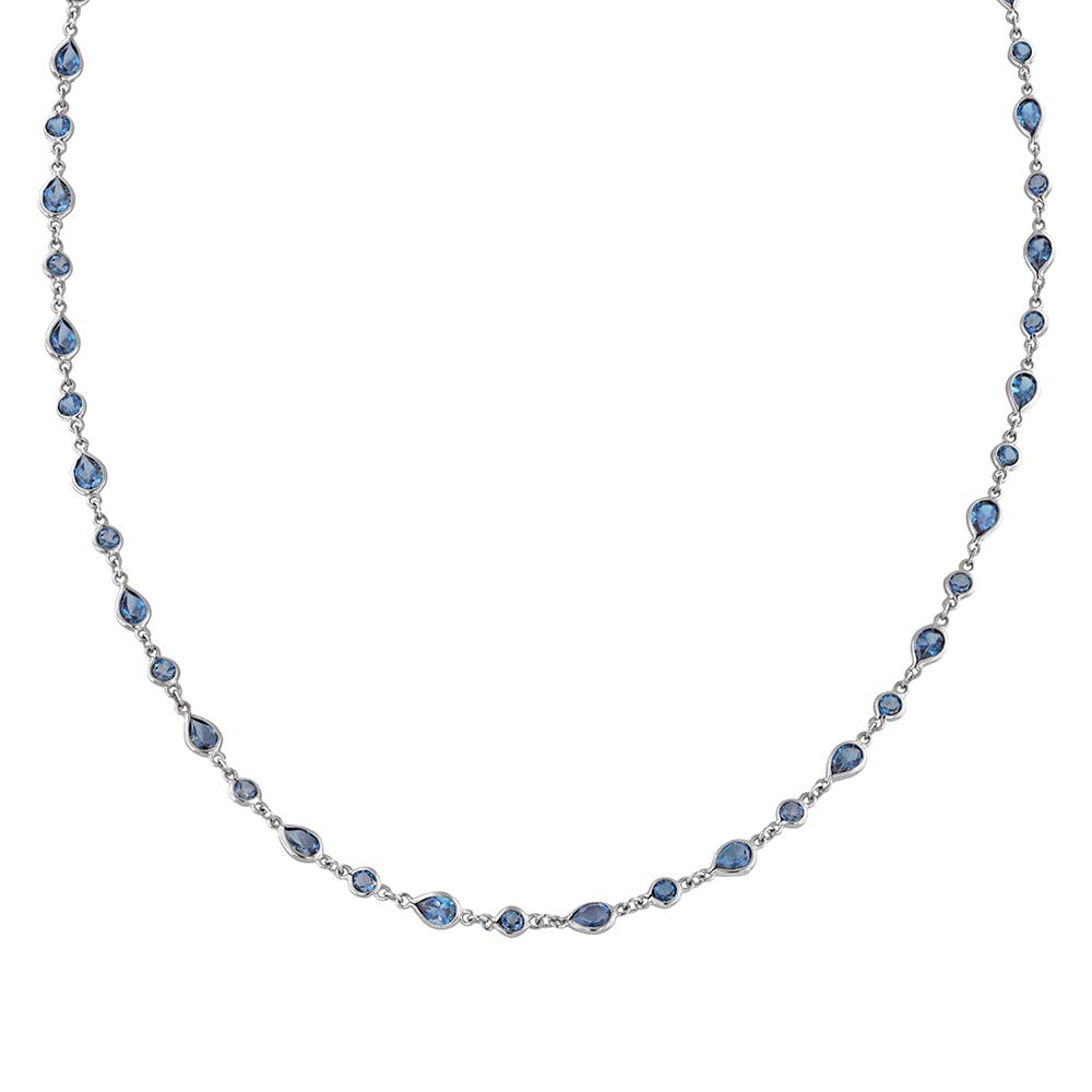Robert Manse Designs Gem RoManse Rhodium Plated Sterling Silver Gemstone Strand Necklace (24, London-Blue-Topaz)