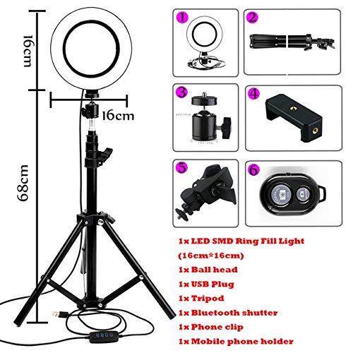 BEESCLOVER LED Ring Light YouTube Live Streaming Makeup Fill Light Selfie Ring Lamp Photographic Lighting with Tripod Phone Holder USB Plug Red One Size by BEESCLOVER