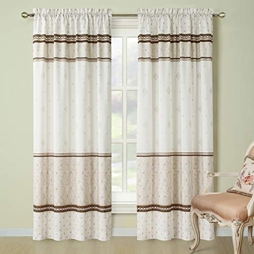 Cheap DS BATH Corinthia Window Curtain,Rod Pocket Microfiber Curtains,Panels for Living Room,Panels for Bedroom,2pcs Panel:Each 42″ W x 84″ H,Total Size:84″ W x 84″ H