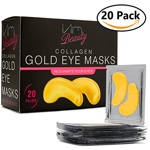 IAMBEAUTY 20 Pairs Collagen 24K Gold Eye Masks - Reduce Dark Circles and Puffiness - Eye Treatment Pads Patches - Anti-aging and Wrinkle Care