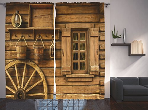 Ambesonne Western Decor Collection, Ancient Wagon Wheel Rustic Wooden Vintage Lantern Window and Buckets Picture, Window Treatments, Living Room Bedroom Curtain 2 Panels Set, 108 X 84 Inches, Khaki