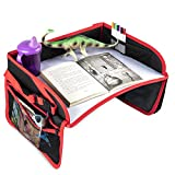 Toyriding Car Seat Travel Activity Tray - Sturdy Lap Desk for Eating or Drawing - iPad Tablet Holder, Toy Storage Pockets and Cup Holder Keep Kids and Toddlers Happy - Stroller and Plane Compatible