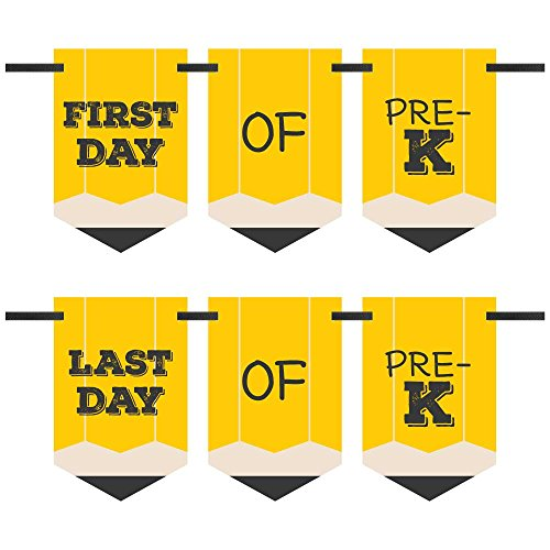 Pre K First School Bunting Banner