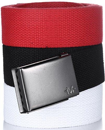 [Marino Men's Web Belt Cotton with Beer Bottle Opener Belt Buckle, 3 Pack, In Elegant Gift Box - White-Black-Red - Custom: Up to 44