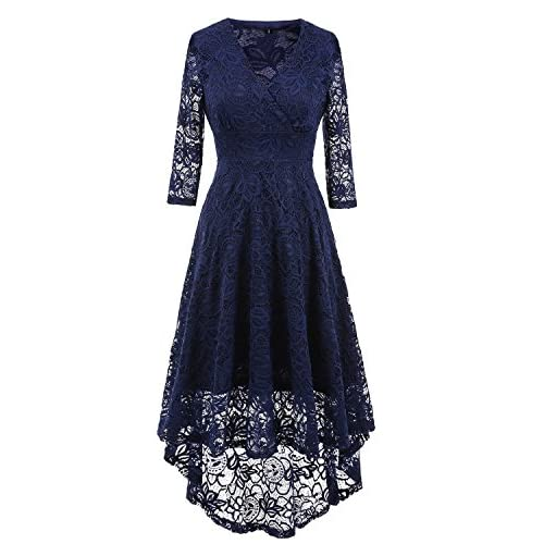 DIANSHANG DREAM Women's V-Neck 3/4 Sleeve Hi Low A Line Midi Party Lace Dress