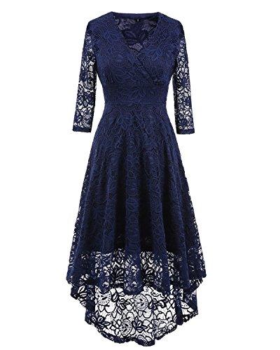 lace 3/4 sleeve midi dress - 6