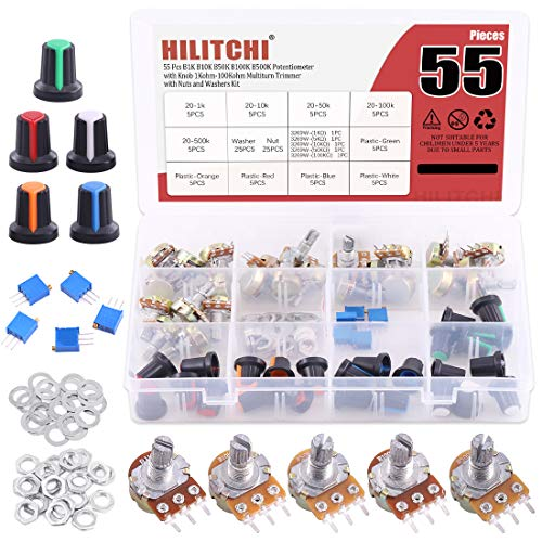 Hilitchi 30 Pcs Complete Models Potentiometer Assortment Kit with 1K-500K Ohm Knurled Shaft 3 Terminals Linear Taper Rotary Potentiometer w Knob Nuts and Washers and 5 Values Trimmer Potentiometer