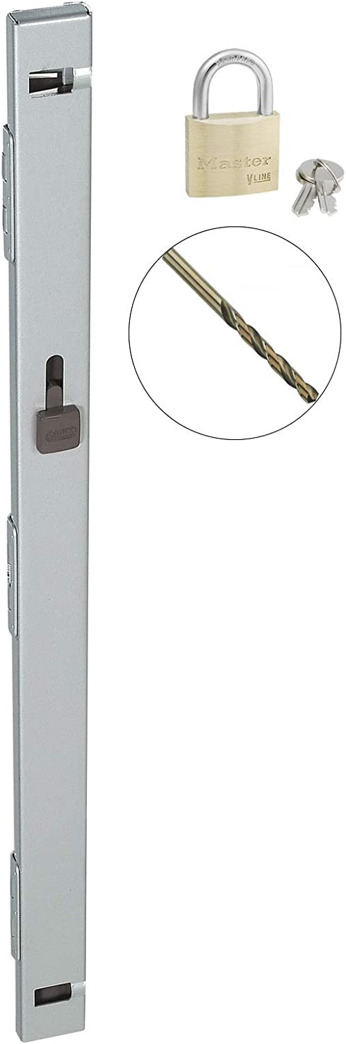 "File Locking Bar - Gray with Drill Bit and Master Lock Keyed Padlock Included - 22.5"" Long - for use on a 2 Drawer File Cabinet"