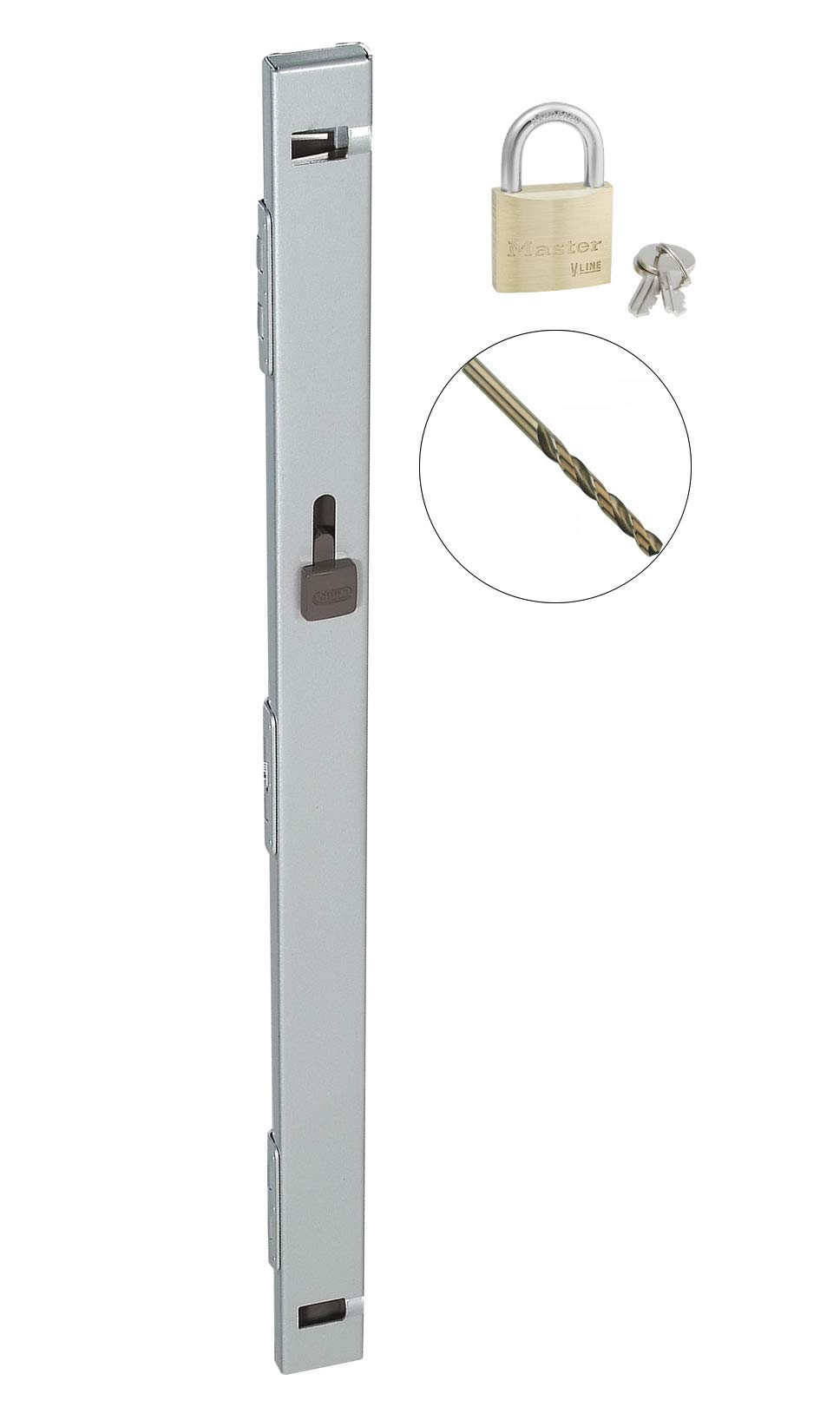 File Locking Bar - Gray with Drill Bit and Master Lock Keyed Padlock Included - 22.5'' Long - for use on a 2 Drawer File Cabinet