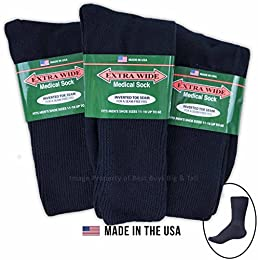 Low Price Big Tall Men Extra Wide Socks Medical Crew Size 11 16 Navy 3 pack 1220c