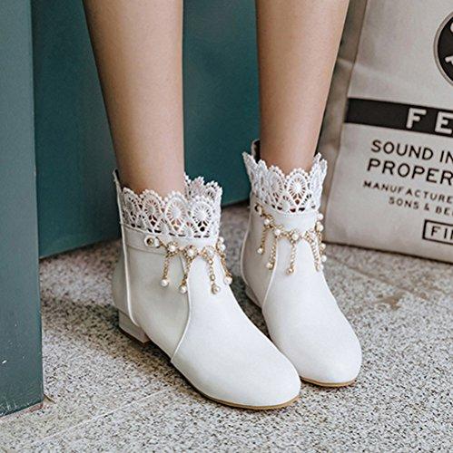 Aisun Damen Runde Zehen Kunstleder Spitze Strass Perlen Troddel Kurzschaft Stiefel Weiß