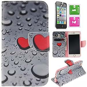 CaseMa-EU Funda de Carcasa PU Cuero Billetera Case Cover para Apple iPhone 6 Plus 5.5 inch (Agua & corazón XT) + Gratis Protector de Pantalla