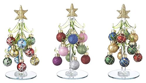 amazoncom ganz blown glass 6 tall christmas trees with ornaments set of 3 ex29351 home kitchen - Glass Christmas Tree