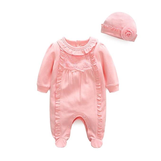 4b9a9c6531c9 Amazon.com  KONFA Toddler Infant Baby Girls Princess Jumpsuit+Hat ...
