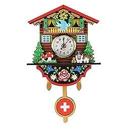 BERTERI Mini Cuckoo Clock Wall Clock Living Room Bird Alarm Clock Watch Hanging Wooden Bell Pointer Home Decor