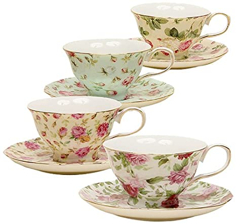 Gracie China by Coastline Imports Rose Chintz 8-Ounce Porcelain Tea Cup and Saucer, Set of 4 33708B