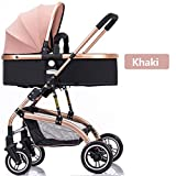 Stroller High-Landscape Bidirectional Walking Baby Strollers 3 in 1 Pram Travel Buggies Foldable Height-Adjustable Buggy Child Pushchairs Comfortable and Durable