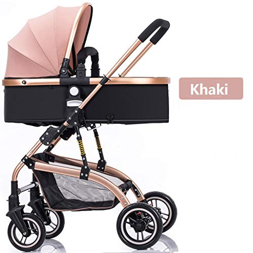 Strollers Baby High-Landscape Bidirectional Walking Baby Strollers 3 in 1 Pram Travel Buggies Foldable Height-Adjustable Buggy Child Pushchairs (Color : Khaki, Size : 34.6425.7841.53inchs)