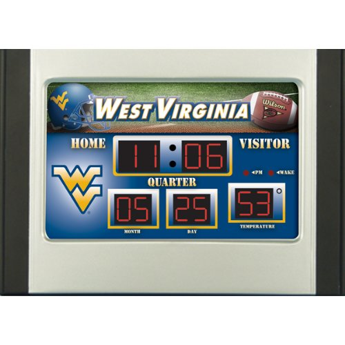 Team Scoreboard Collegiate Sports (West Virginia Mountaineer Scoreboard Desk Clock)