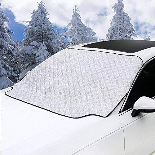 MITALOO Car Windshield Snow Cover, Ice Removal Sun Shade for Winter Protection, Universal Fit for Cars Trucks Vans and SUVs Thick and Large (72'' X39'') (Best Car Cover For Sun And Rain)