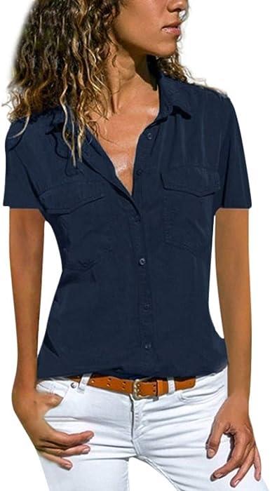 Camisetas Mujer Manga Corta de Casual Suelta Cuello Bolsillos Botones Camisa Tops: Amazon.es: Ropa y accesorios