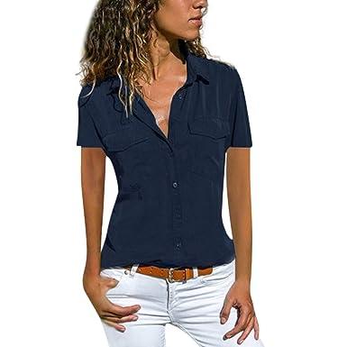 Gusspower Mujer Blusa Cuello En V Camiseta de Mangas Corta Color ...