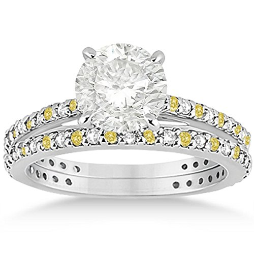 Eternity Bridal Set White and Canary Yellow Diamond Engagement Ring and Band Palladium (Palladium Yellow Ring)