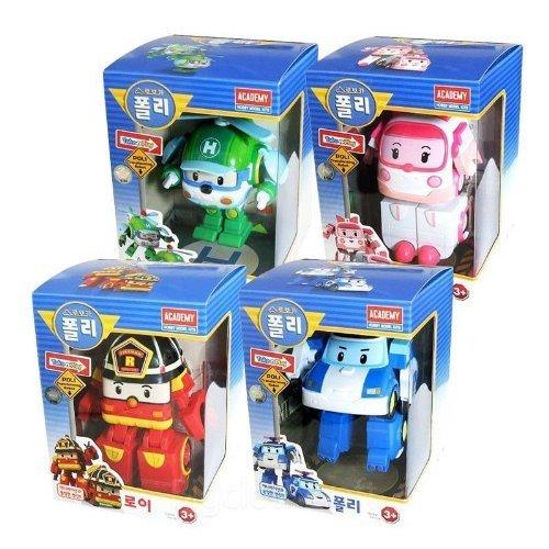 4Pcs Academy Robocar Poli - POLI & HELLI & AMBER & ROI Transforming Robot Toy by Academy -