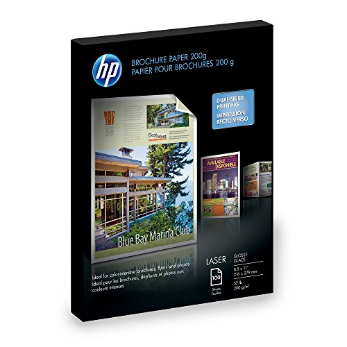 - HP Laser Glossy Brochure Paper 100 Sheets 8.5 x 11 inch 200 Gram-Q6608A