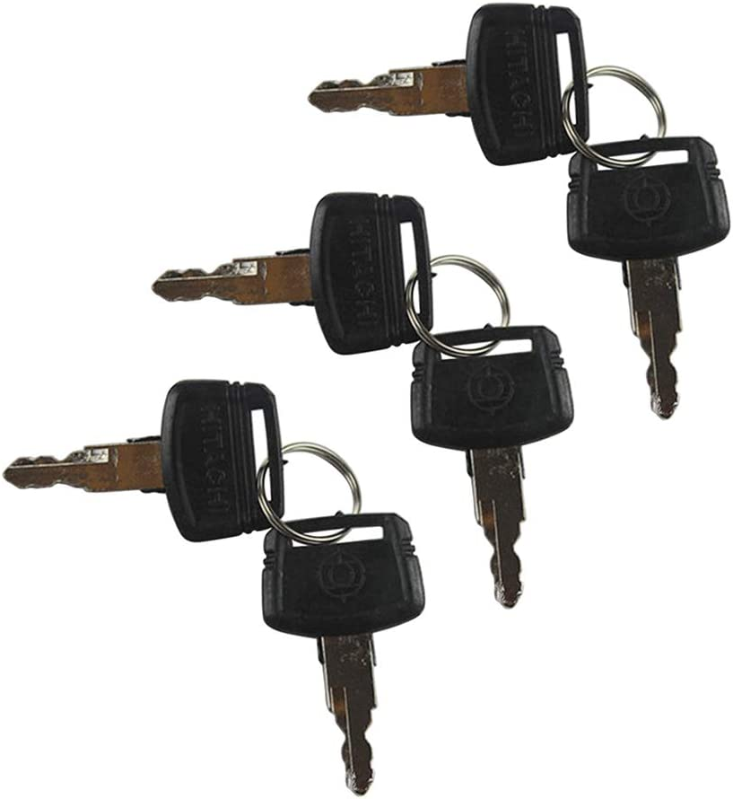 BAQI 6PCS Heavy Equipment Replacement Key Ignition Key Starter Switch for Hitachi Excavator Construction