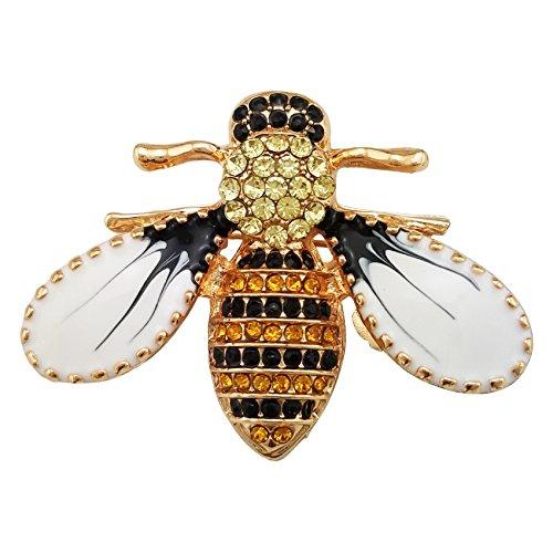 SELOVO Cute Yellow Black Crystal Honeybee Bee Brooch Pin Enamel Gold Tone