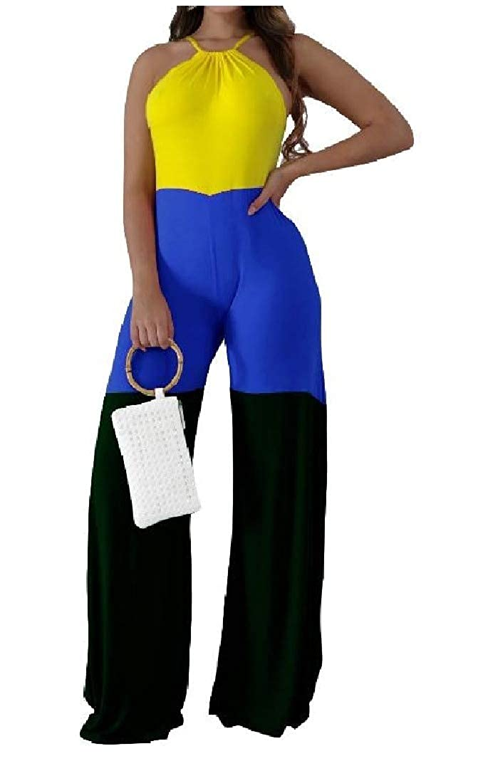 SportsX Women Wide Legs High Rise Spell Color Sleeveless Playsuit