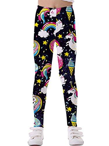 KIDVOVOU Little Girls Unicorn Printed Kids Full-Length Great Stretch Leggings,Black Unicorn,M -