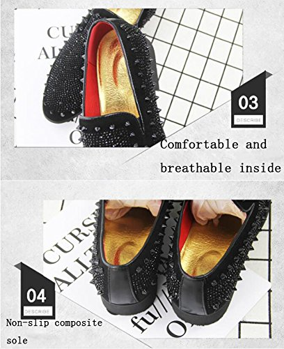 Cuero Koyi Coreana Los De con Verano Moda Cómodo Diamantes De Black Zapatos Versión De Remaches Puntiagudos Zapatos Hombre Juvenil Y De Zapatos De Transpirable 76qA7rT