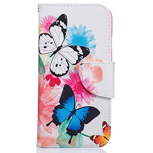 Pretty Pattern Wallet Leather Tasche Hüllen Schutzhülle - case Accessory for iPhone 7 4.7 - Beautiful Butterflies and Flowers
