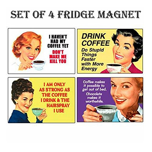 SET OF 4 COFFEE LOVER RETRO FUNNY REFRIGERATOR MAGNETS FRIDGE MAGNETS - 002